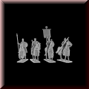 V & V Miniatures: SKU - R28.44 Byzantine emperor with generals and standard bearer