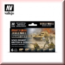 Vallejo Model Color Set: Vallejo 70.208 WWII Desert British & German Armour & Infantry